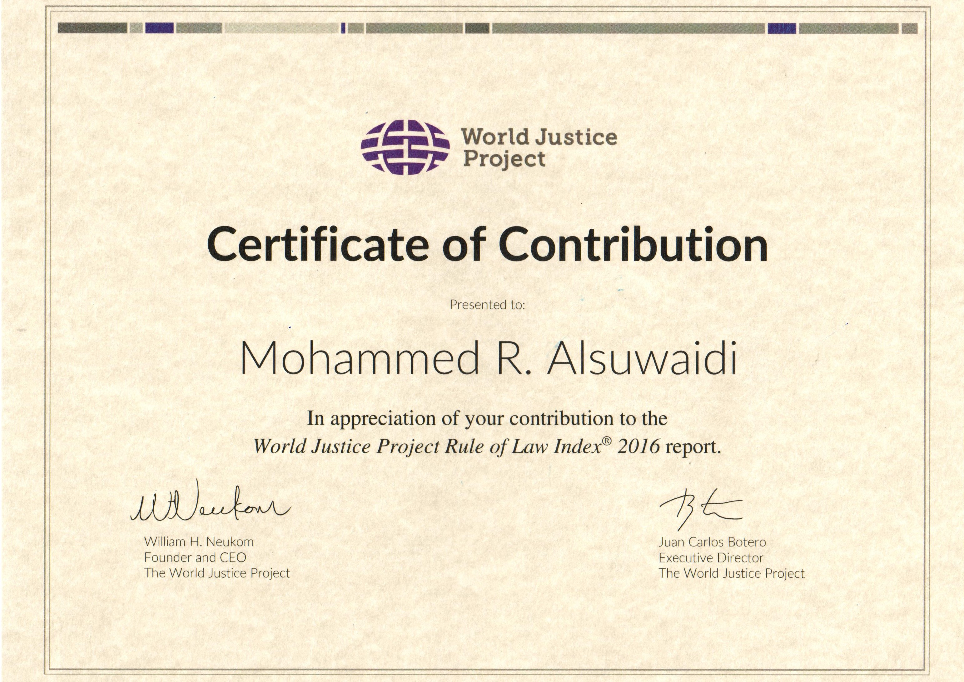 Certificate of Contribution - World Justice Project
